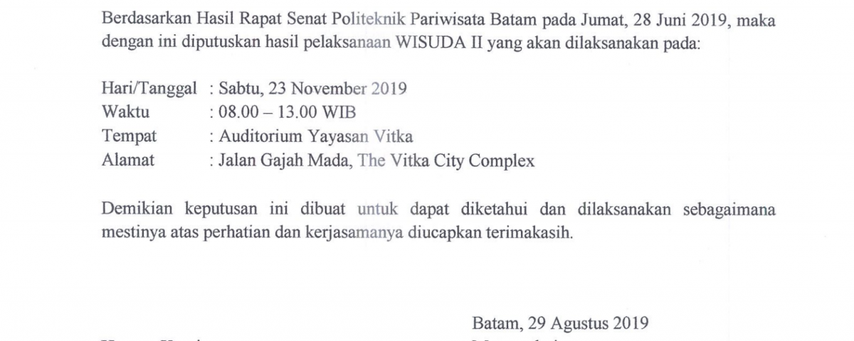 Hasil Rapat Senat Tentang Wisuda II TA 2019/2020